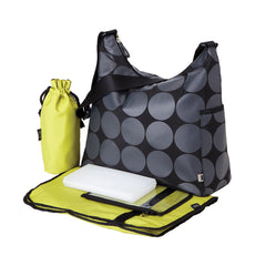 Oioi Nappy Bag Grey Dot - Green Hobo W Strolle | Buy Nursery Products Online With the Best Deals at Anbmart.com.au!