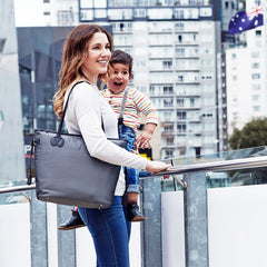 Oioi Nappy Bag Grey Micro Check-Tote | Buy Nursery Products Online With the Best Deals at Anbmart.com.au!