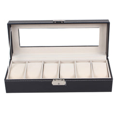 6 Slot Mens Watch Display Case Box Black PU Leather | Buy Home Decoration Products Online With the Best Deals at Anbmart.com.au!