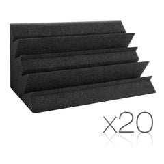 Set of 20 Studio Corner Bass Trap Acoustic Foam Black - Music, Studio & Accessories - ANB Mart