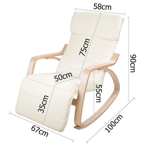 Birch Plywood Adjustable Rocking Lounge Arm Chair w/ Fabric Cushion Beige - Lounge Furniture - ANB Mart