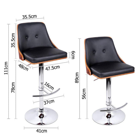 PU Leather Wooden Bar Stool Black - Barstools & Chairs - ANB Mart