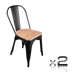 Set of 2 Replica Tolix Dining Metal Chair Bamboo Seat Gloss Black | Buy Barstools & Chairs Products Online With the Best Deals at Anbmart.com.au!