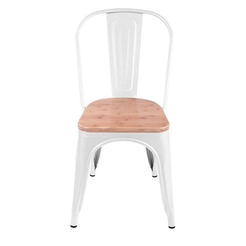 Set of 2 Replica Tolix Dining Metal Chair Bamboo Seat Gloss White - Barstools & Chairs - ANB Mart