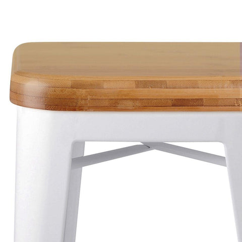 Set of 2 Replica Tolix Kitchen Bar Stool Bamboo Seat 66cm White - Barstools & Chairs - ANB Mart