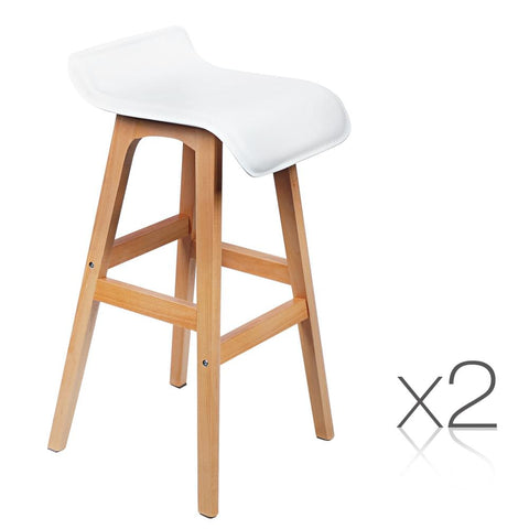 Set of 2 Beech Wood PVC Bar Stools - White - Barstools & Chairs - ANB Mart