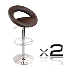 Set of 2 PU Leather Kitchen Bar Stool Chocolate - Barstools & Chairs - ANB Mart