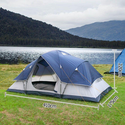 6 Person Family Camping Tent Navy Grey - Camping & Hiking - ANB Mart