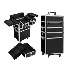 7 in 1 Portable Beauty Make up Cosmetic Trolley Case Black | Buy Cosmetic & Jewelleries Storage Products Online With the Best Deals at Anbmart.com.au!
