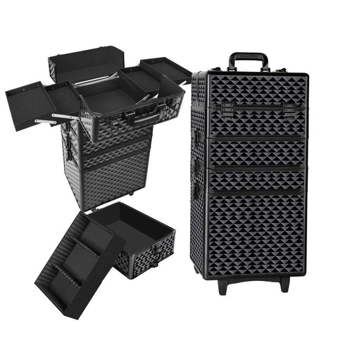 4 in 1 Portable Beauty Make up Cosmetic Trolley Case Diamond Black - Makeup - A&B Mart Australia - 1
