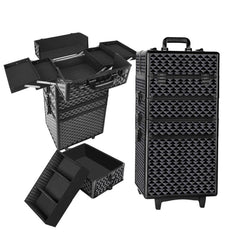 7 in 1 Portable Beauty Make up Cosmetic Trolley Case Diamond Black - Cosmetic & Jewelleries Storage - ANB Mart