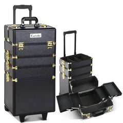 7 in 1 Portable Beauty Make up Cosmetic Trolley Case Black Gold | Buy Cosmetic & Jewelleries Storage Products Online With the Best Deals at Anbmart.com.au!