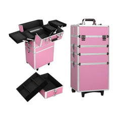 7 in 1 Portable Beauty Make up Cosmetic Trolley Case Pink | Buy Cosmetic & Jewelleries Storage Products Online With the Best Deals at Anbmart.com.au!