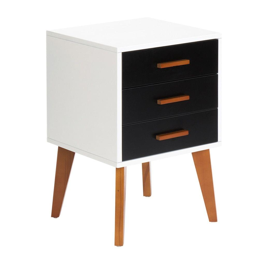 Bedside Table Cabinet Matt Black