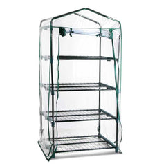 4 Shelf Greenhouse with Transparent PVC Cover - Garden Furniture - ANB Mart