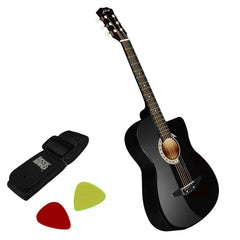 38 Inch Wooden Acoustic Guitar Black - Music, Studio & Accessories - ANB Mart