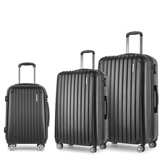 Set of 3 Hard Shell Travel Luggage with TSA Lock - Black | Buy Luggage & Travel Products Online With the Best Deals at Anbmart.com.au!