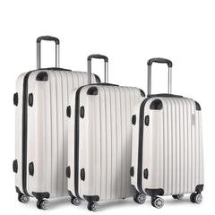 Set of 3 Hard Shell Travel Luggage with TSA Lock - White | Buy Luggage & Travel Products Online With the Best Deals at Anbmart.com.au!