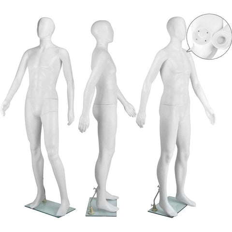 Full Body Male Mannequin Cloth Display Tailor Dressmaker White 186cm - Gifts & Novelty - ANB Mart