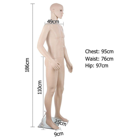 Full Body Male Mannequin Cloth Display Tailor Dressmaker Skin Tone 186cm - Gifts & Novelty - ANB Mart