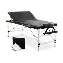 Portable Aluminium 3 Fold Massage Table Chair Bed Black 80cm | Buy Massage Products Online With the Best Deals at Anbmart.com.au!
