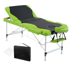 Aluminium Massage Table 3 Fold Green Black | Buy Massage Products Online With the Best Deals at Anbmart.com.au!