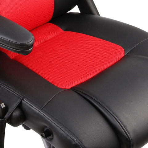 8 Point Massage Racing PU Leather Office Computer Chair Black/Red - Office Furniture - ANB Mart