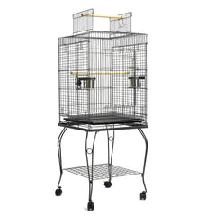 Parrot Pet Aviary Bird Cage w/ Open Roof 145cm Black - Birds - ANB Mart