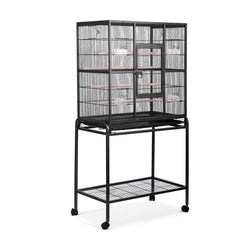 Pet Parrot Aviary Bird Cage w/ Wheels Stand 160cm Black - Birds - ANB Mart
