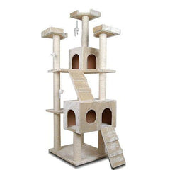 Multi Level Cat Scratching Poles Tree w/ Ladder Beige | Buy Cats & Dogs Products Online With the Best Deals at Anbmart.com.au!