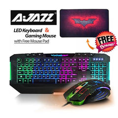 Ajazz Dark Knight 7 Backlight LED Keyboard and 7 LED Colors 2400DPI 6 Button USB Gaming Mouse with Free Gaming Mouse Pad Set - Computer Accessories - ANB Mart