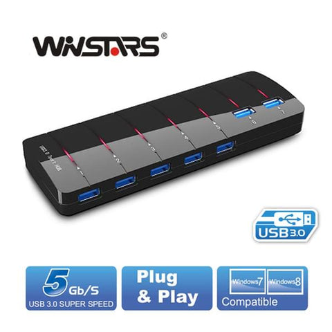 Winstars 7 Port USB 3.0 Hub with Power Adapter - Battery Chargers - ANB Mart