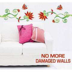 Extra Large Size Adorable Red Flower Vine Wall Stickers - Totally Movable | Buy Home Decoration Products Online With the Best Deals at Anbmart.com.au!