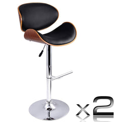 Set of 2 Wooden Kitchen Bar Stool Padded Seat Black | Buy Barstools & Chairs Products Online With the Best Deals at Anbmart.com.au!