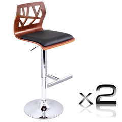 Set of 2 PU Leather Wooden Kitchen Bar Stool Padded Seat Black - Barstools & Chairs - ANB Mart