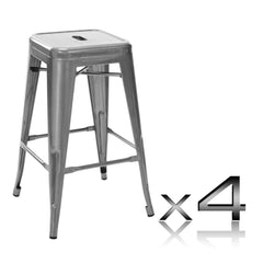 Set of 4 Replica Tolix Kitchen Bar Stool 66cm Metallic | Buy Barstools & Chairs Products Online With the Best Deals at Anbmart.com.au!