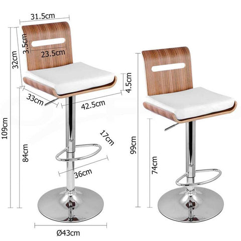 Set of 2 Wooden Bar Stool Kitchen Chair Niomi Natural - Barstools & Chairs - ANB Mart
