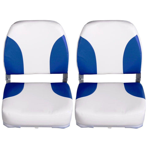 Set of 2 Swivel Folding Marine Boat Seats White Blue - Boats & Kayaks - ANB Mart