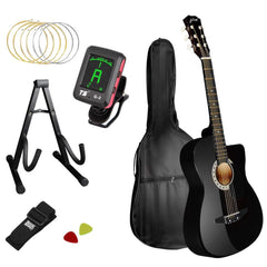 Acoustic Cutaway Guitar Black w/ Steel String Stand Strap - Music, Studio & Accessories - ANB Mart