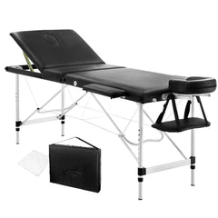 Portable Aluminium 3 Fold Massage Table Chair Bed Black 60cm - Massage - ANB Mart