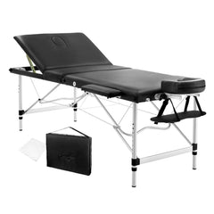 Portable Aluminium 3 Fold Massage Table Chair Bed Black 75cm | Buy Massage Products Online With the Best Deals at Anbmart.com.au!