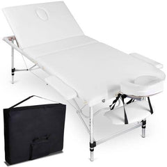 Portable Aluminium 3 Fold Massage Table Chair Bed White 75cm | Buy Massage Products Online With the Best Deals at Anbmart.com.au!