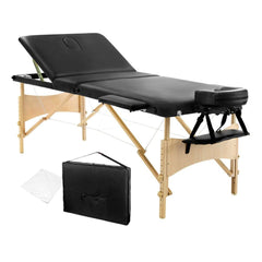 Portable Wooden 3 Fold Massage Table Chair Bed Black 70 cm - Massage - ANB Mart