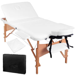 Portable Wooden 3 Fold Massage Table Chair Bed White 70 cm | Buy Massage Products Online With the Best Deals at Anbmart.com.au!
