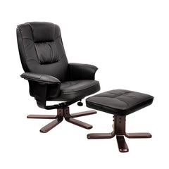 PU Leather Lounge Office Recliner Chair Ottoman Black - Office Furniture - ANB Mart