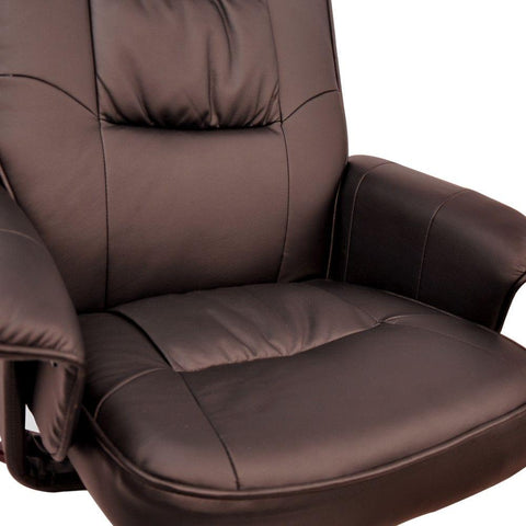 PU Leather Lounge Office Recliner Chair Ottoman Chocolate - Office Furniture - ANB Mart