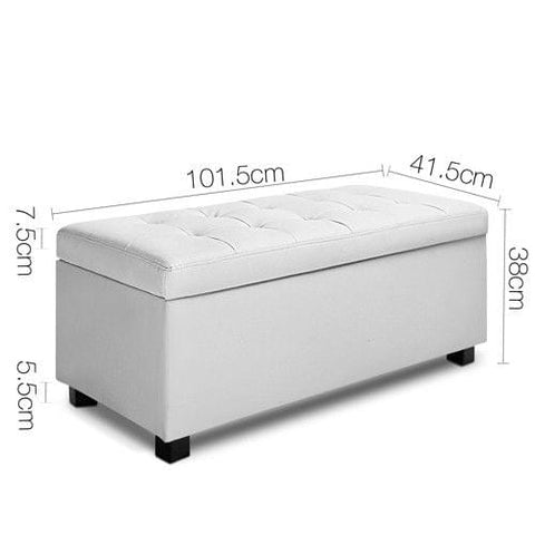 Large Ottoman PU Leather Chest Storage Box Foot Stool White - Storage & Organisation - ANB Mart