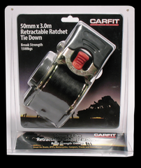 CARFIT 50MM X 3.0M RATCHET STRAP RETRACTABLE SINGLE - Car Cargo Accessories - ANB Mart