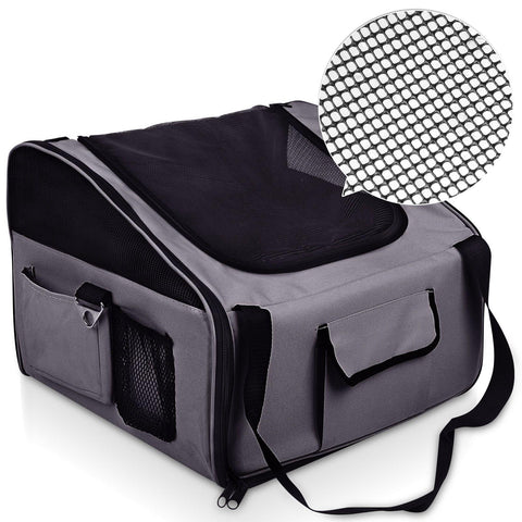 Pet Dog Cat Car Seat Carrier Travel Bag Small Grey - Cats & Dogs - ANB Mart