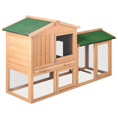 Rabbit Hutch Chicken Coop Cage Guinea Pig Ferret House w/ 2 Storeys Run - Backyard Poultry - ANB Mart
